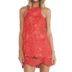 Lovers + Friends Red Caspian Lace Mini Shift Dress